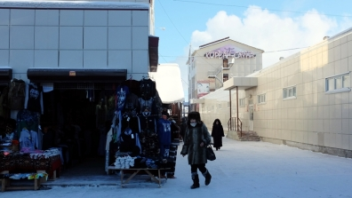 Shopping at the Chinese market in Yakutsk, Russia.