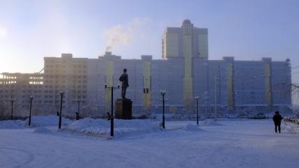 Winter morning fog in Yakutsk, Russia.