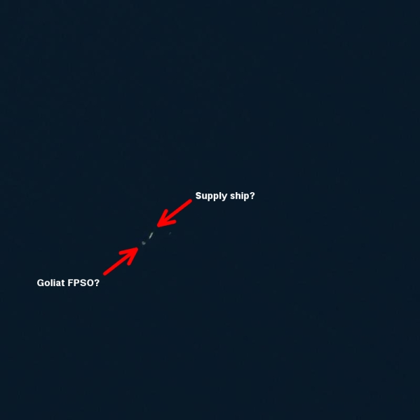 Goliat FPSO and supply ship captured by Sentinel-2?