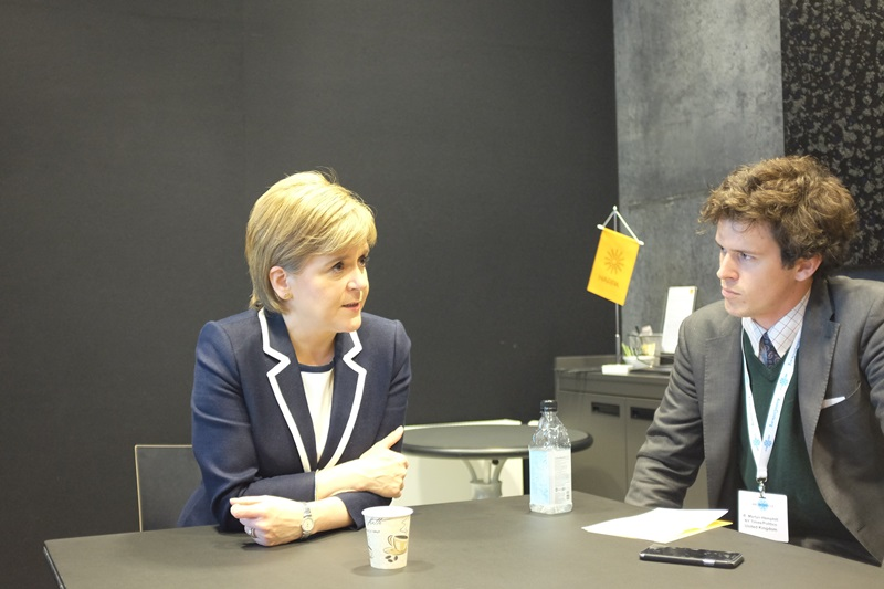 First Minister of Scotland Nicola Sturgeon meets with journalists at a press roundtable at Arctic Circle in Reykjavik, Iceland.
