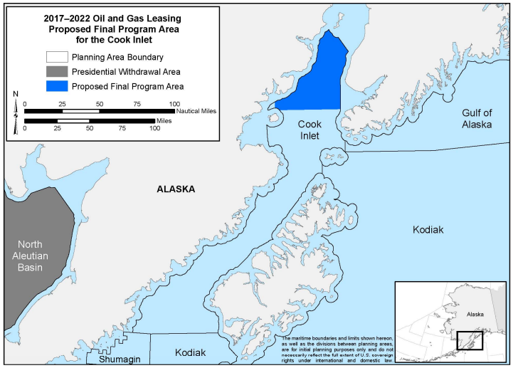 2017-2022 Oil and Gas Leasing Proposed Final Program Area for the Cook Inlet. If the plan holds, no Arctic offshore leases in Alaska will be sold over the next five years.