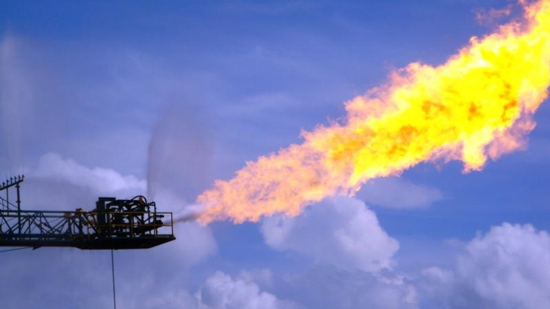 Gas flaring releases large amounts of methane.