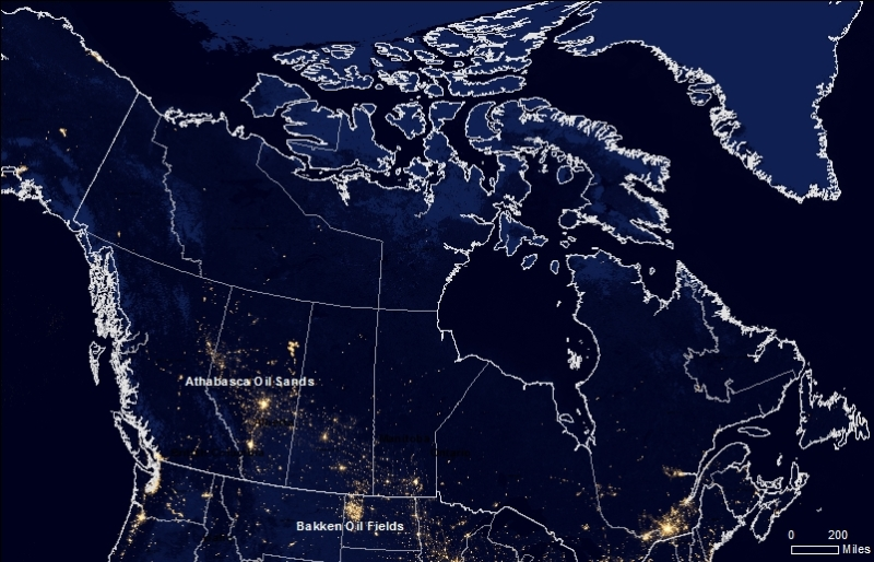 Night light satellite imagery reveals the prominence of gas flaring in the Bakken Oil Fields and Athabasca Oil Sands and its proximity to the Arctic.