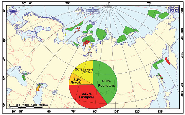 A map of oil leases in the Russian Arctic.
