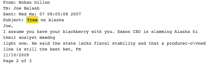 Archived emails under Sarah Palin's governorship show the state's distaste for ExxonMobil.