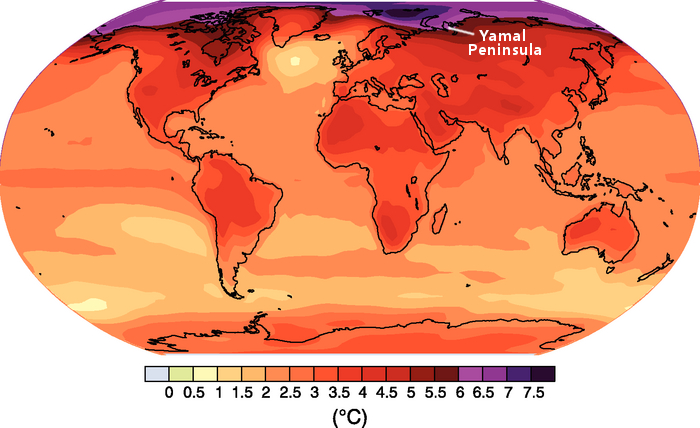 IPCC climate projection with Yamal Peninsula highlighted.