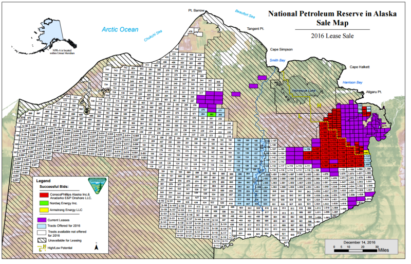 2016 NPR-A Lease Sale Tract Results Map (12/14/2016). Source: Dept. of Interior/BLM.