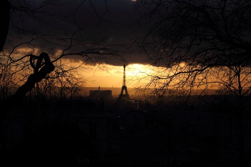 Eiffel Tower/Tour Eiffel at sunset in winter, Paris, France.
