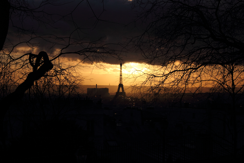 Eiffel Tower/Tour Eiffel at sunset in winter, Paris, France.