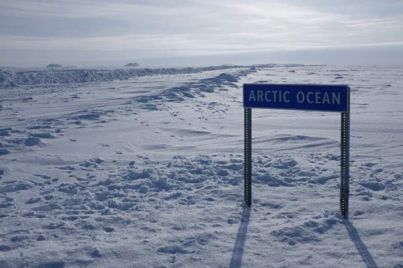 A sign at the Arctic Ocean.